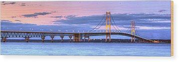 Mackinac Bridge In Evening Wood Print by Twenty Two North Photography