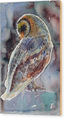 Barn Owl Wood Print by Kovacs Anna Brigitta