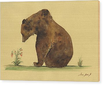 Grizzly Bear Watercolor Painting Wood Print by Juan  Bosco