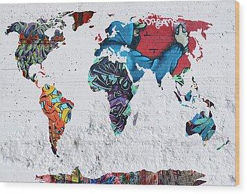 Map Of The World Wood Print by Mark Ashkenazi
