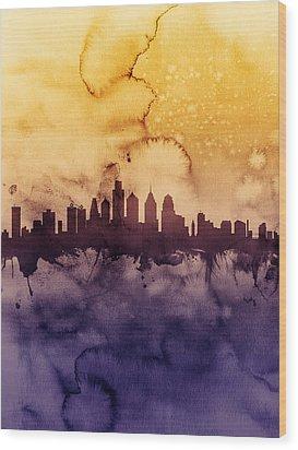 Philadelphia Pennsylvania Skyline Wood Print by Michael Tompsett