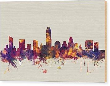 Austin Texas Skyline Wood Print by Michael Tompsett