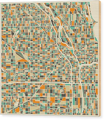 Chicago Map Wood Print by Jazzberry Blue