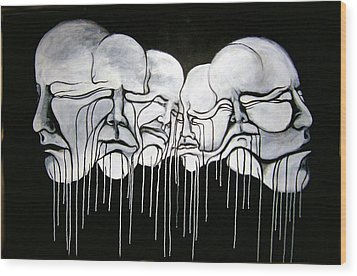 6 Faces Wood Print by Stephen  Barry