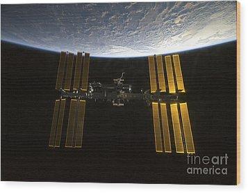 International Space Station Wood Print by Stocktrek Images