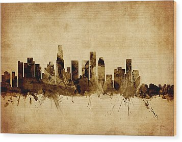 Los Angeles California Skyline Wood Print by Michael Tompsett