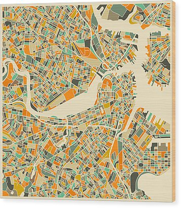 Boston Map Wood Print by Jazzberry Blue