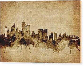 Sydney Australia Skyline Wood Print by Michael Tompsett