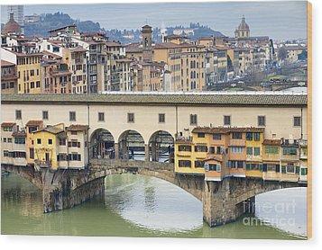 Vecchio Bridge Wood Print by Andre Goncalves