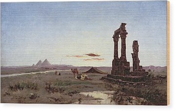 A Bedouin Encampment By A Ruined Temple  Wood Print by Alexandre Gabriel Decamps