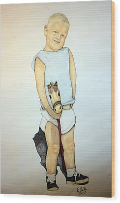 A Boy On A Stickhorse Wood Print by Edward Ruth