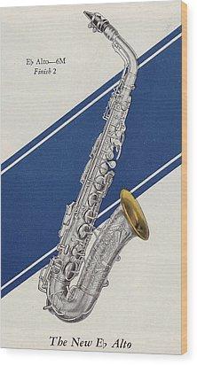A Charles Gerard Conn Eb Alto Saxophone Wood Print by American School
