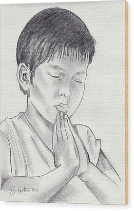 A Child's Prayer Wood Print by John Keaton