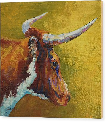 A Couple Of Pointers - Longhorn Steer Wood Print by Marion Rose