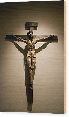 A Crucifix In The Old Saint Francis Wood Print by Stephen St. John