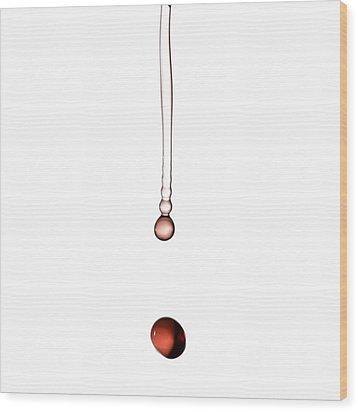 A Drop Of Wine Wood Print by Frank Tschakert