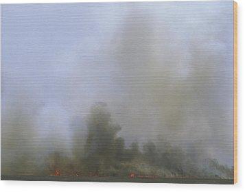 A Fire Burns In The Marsh On Ocracoke Wood Print by Stephen Alvarez
