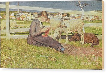 A Girl Knitting Wood Print by Giovanni Segantini