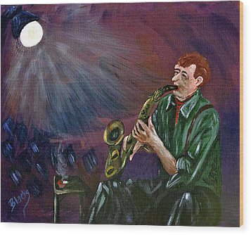 A Little Sax Wood Print by Donna Blackhall