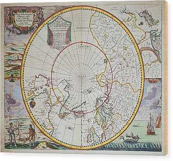 A Map Of The North Pole Wood Print by John Seller