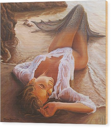 A Mermaid In The Sunset - Love Is Seduction Wood Print by Marco Busoni