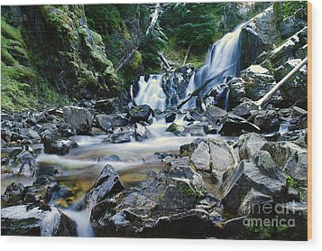 A New Way To The Waterfall  Wood Print by Jeff Swan