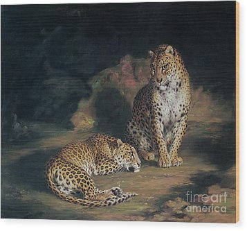 A Pair Of Leopards Wood Print by William Huggins