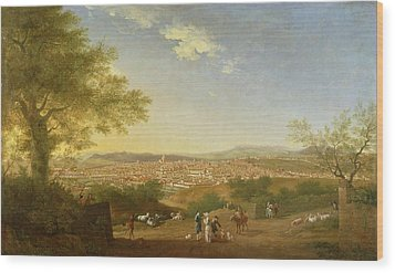 A Panoramic View Of Florence From Bellosguardo Wood Print by Thomas Patch