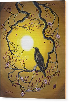 A Raven Remembers Spring Wood Print by Laura Iverson
