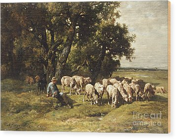 A Shepherd And His Flock Wood Print by Charles Emile Jacques