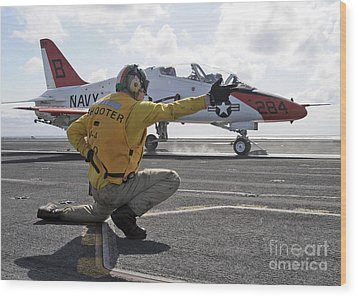 A Shooter Launches A T-45 Goshawk Wood Print by Stocktrek Images