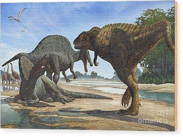 A Spinosaurus Blocks The Path Wood Print by Sergey Krasovskiy