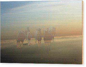 A Touch Of Horse Heaven Wood Print by Andrea Lawrence