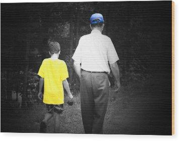 A Walk With Grandpa Wood Print by Cathy  Beharriell