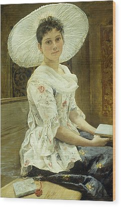 A Young Beauty In A White Hat  Wood Print by Franz Xaver Simm