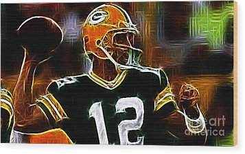 Aaron Rodgers - Green Bay Packers Wood Print by Paul Ward