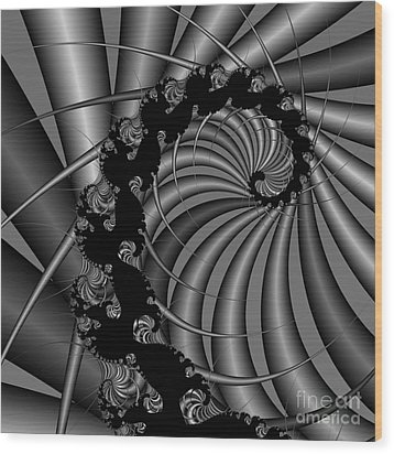 Abstract 112 Bw Wood Print by Rolf Bertram