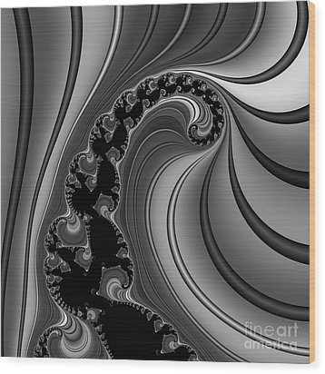Abstract 121 Bw Wood Print by Rolf Bertram