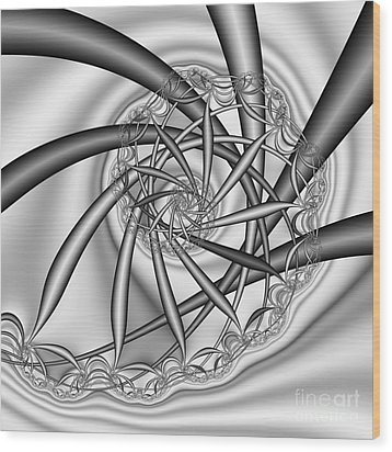 abstract 533 BW Wood Print by Rolf Bertram
