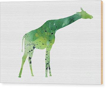 Abstract Green Giraffe Minimalist Painting Wood Print by Joanna Szmerdt