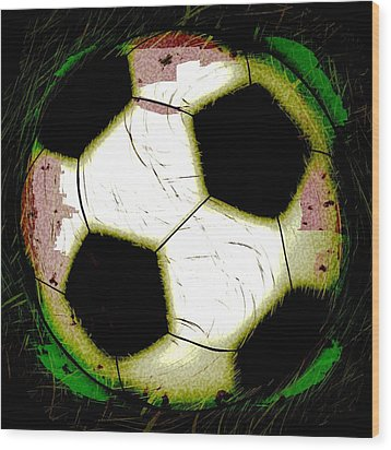 Abstract Grunge Soccer Ball Wood Print by David G Paul