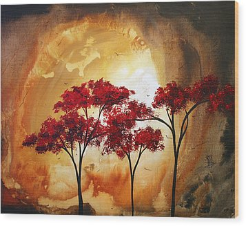Abstract Landscape Painting Empty Nest 2 By Madart Wood Print by Megan Duncanson