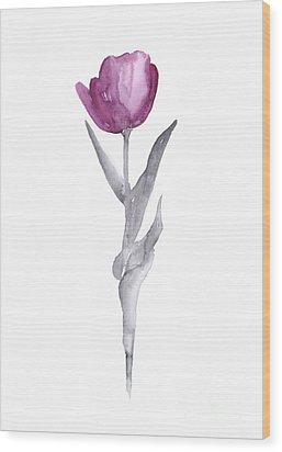 Abstract Tulip Flower Watercolor Painting Wood Print by Joanna Szmerdt