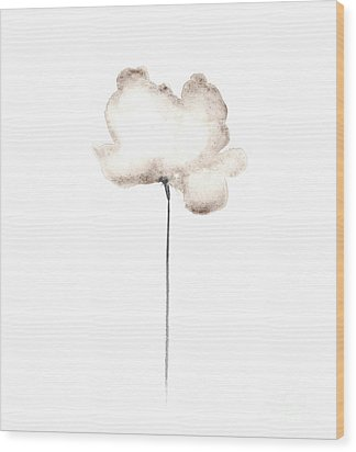 Abstract White Poppy Watercolor Art Print Painting Wood Print by Joanna Szmerdt