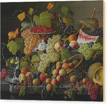 Abundant Fruit Wood Print by Severin Roesen