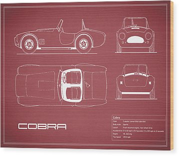 Ac Cobra Blueprint - Red Wood Print by Mark Rogan