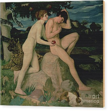 Adam And Eve  Wood Print by William Strang