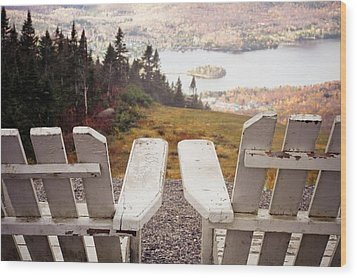 Adirondack Chair On Mountain Top Wood Print by Angela Auclair
