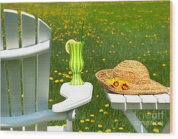 Adirondack Chair On The Grass  Wood Print by Sandra Cunningham