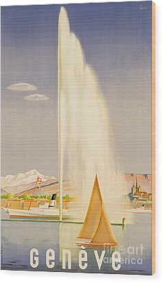 Advertisement For Travel To Geneva Wood Print by Fehr